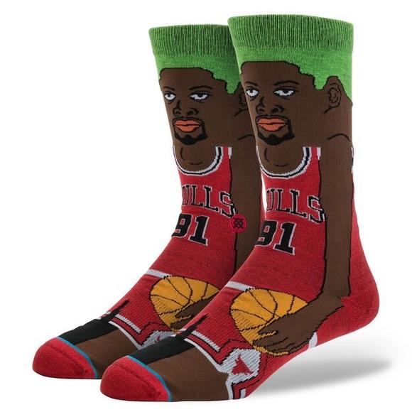 Dennis Rodman Chicago Bulls Stance Socks NEW